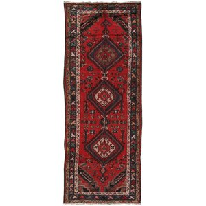 Lori Vintage Lamb's Wool Hand-Knotted Red Area Rug