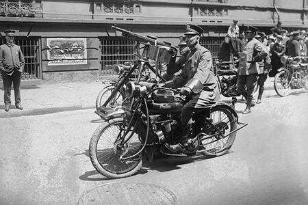 'Police Mobile Motorcycle Machine Gun' Photographic Print