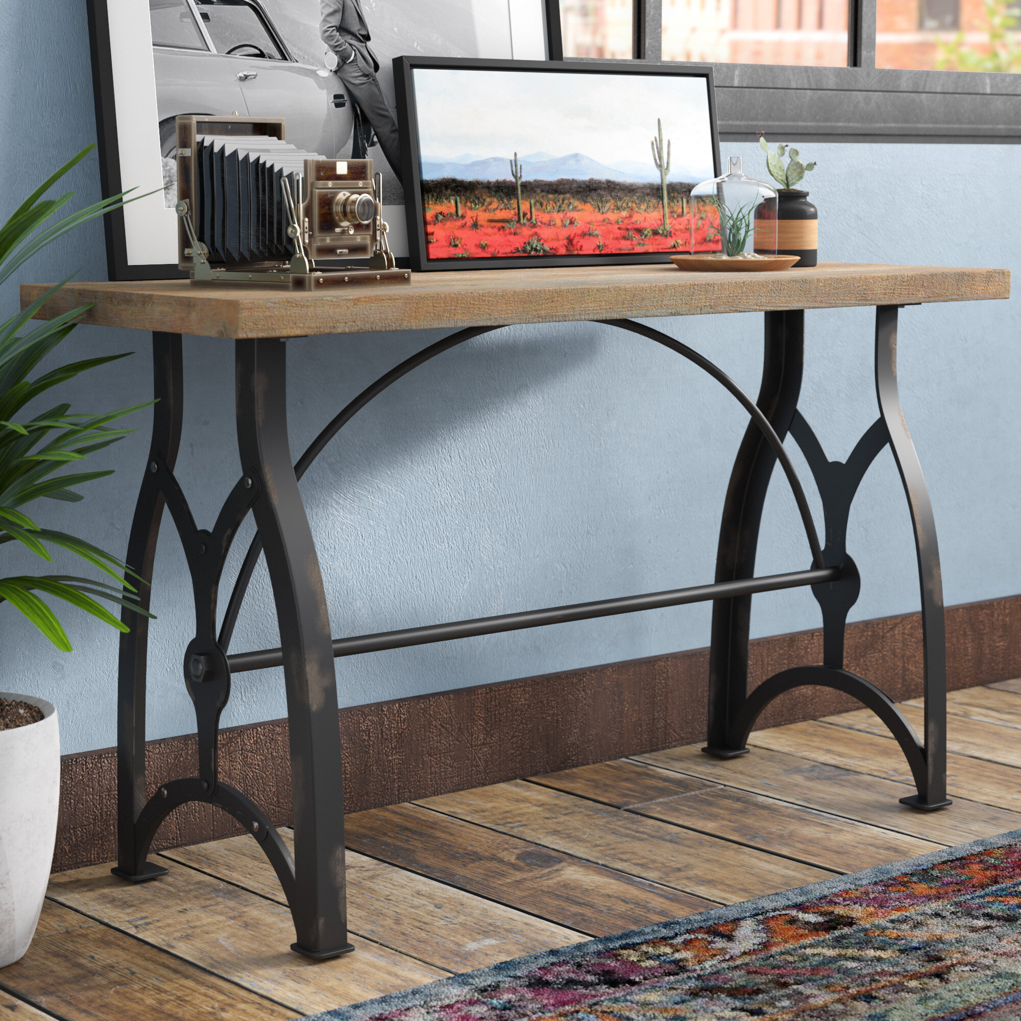 17 stories alice industrial console table reviews wayfair