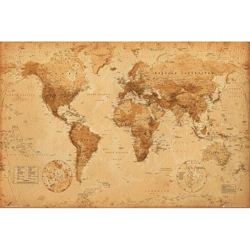 Reinders Antique World Map Graphic Art Plaque Wayfaircouk - Antique world map picture
