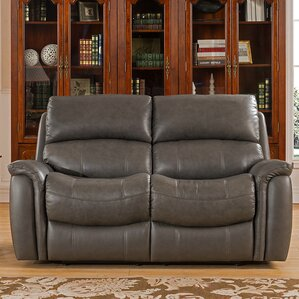 Forbes Leather Reclining Loveseat by Red Barrel Studio