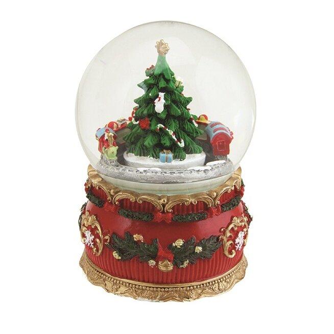 Northlight Christmas Tree and Train Rotating Musical Snow Globe