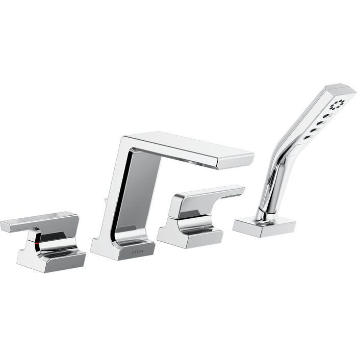 roman tub faucets. Pivotal Double Handle Deck Mounted Roman Tub Faucet Trim With Hand Shower Faucets
