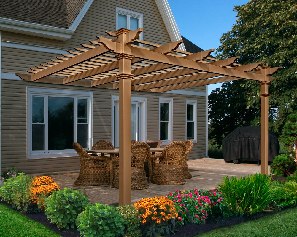 New england arbors kennedy attached composite 12 ft w x for Terrazas de kennedy