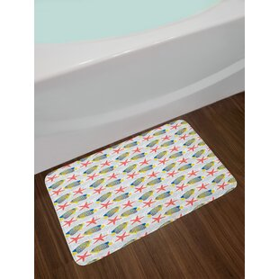 Ambesonne Starfish Bath Mat By Exotic Underwater Fauna Erfly Fish Pattern On Bubbles And Stripes Background Plush Bathroom Decor With Non Slip