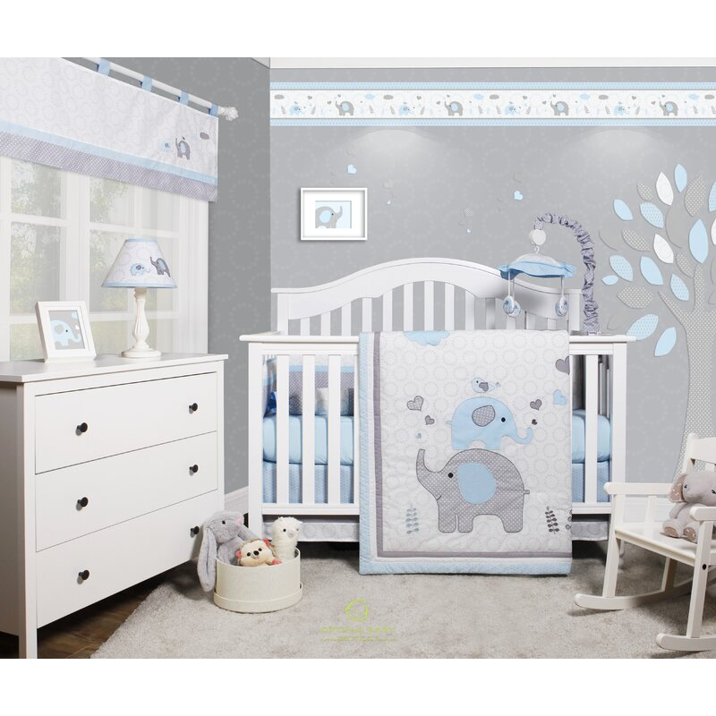 marvelous Elephant Baby Boy Crib Bedding Part - 10: Penney Elephant Baby Nursery 6 Piece Crib Bedding Set
