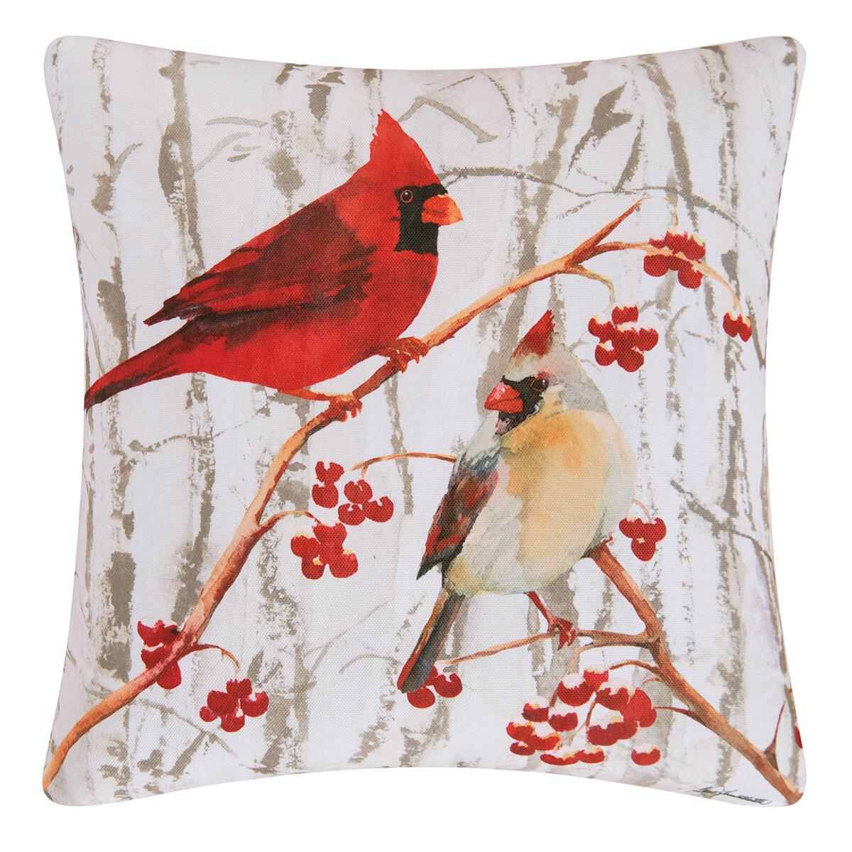 Red Barrel Studio Letourneau Cardinal Pair Throw Pillow