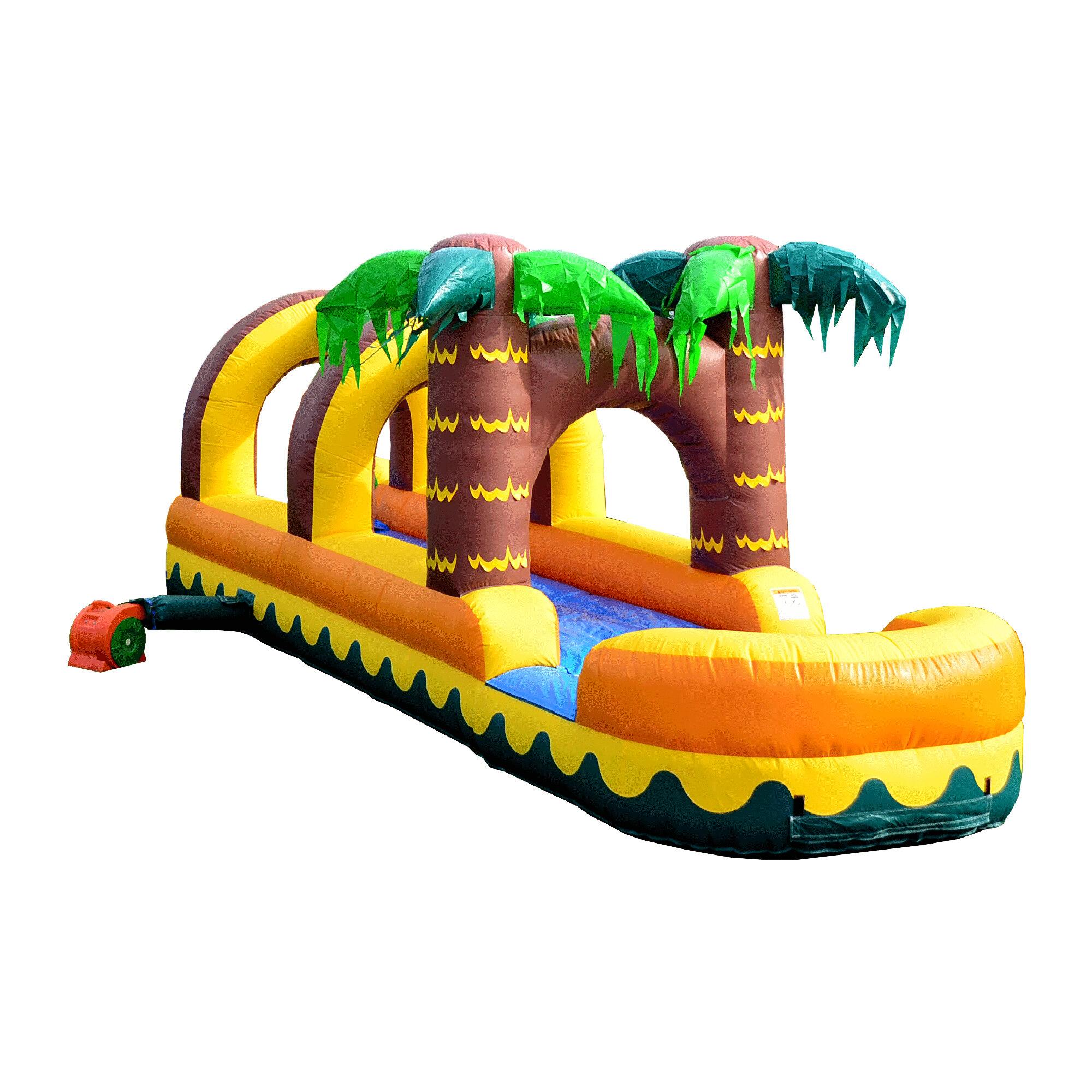 39aaf9e71 JumpOrange Aloha Tropical Inflatable Slip N Slide Bounce House