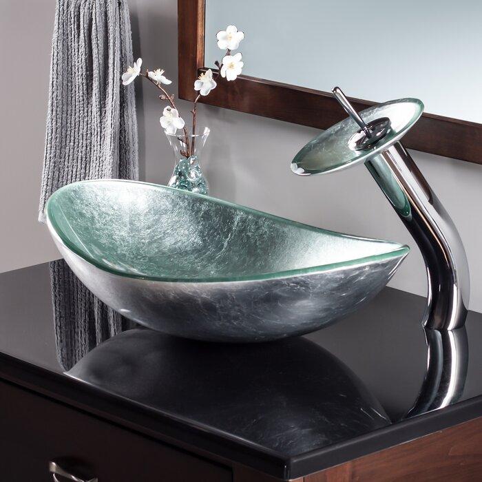 Lavabo de salle de bain vasque ovale en verre avec robinet Argento