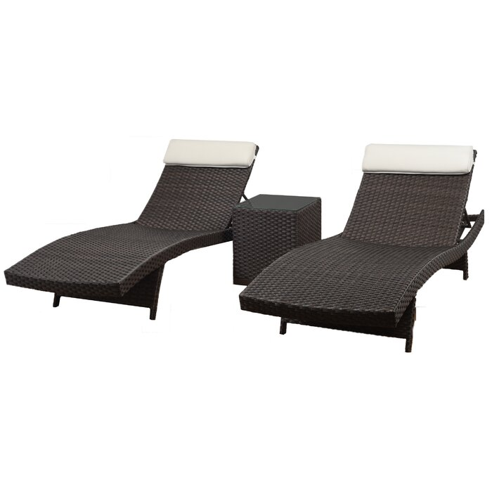 Awe Inspiring Grote Patio 3 Piece Single Chaise Lounge Set Machost Co Dining Chair Design Ideas Machostcouk