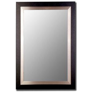 satin black and brushed nickel silver wide flat wall mirror - Brushed Nickel Mirror