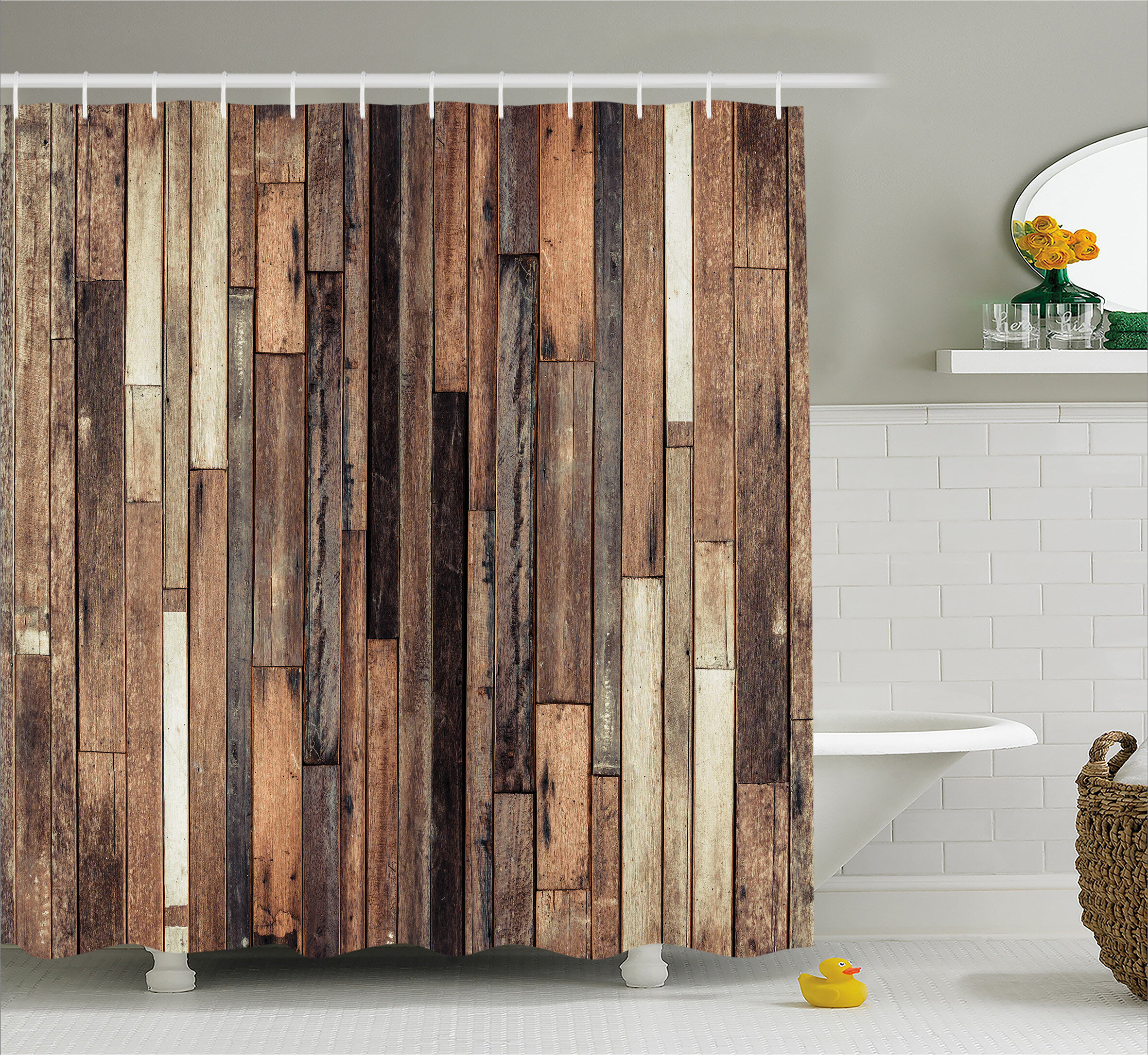 Wood Look Shower Curtain