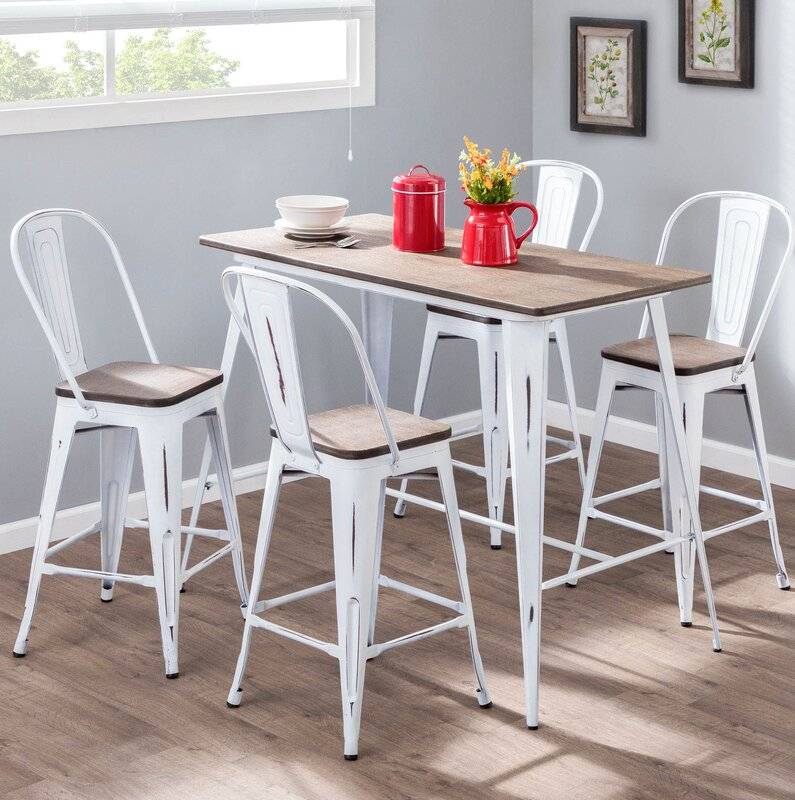 Amett High Back Industrial 5 Piece Counter Height Dining Set