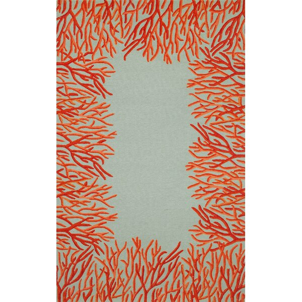 Bluford Orange Coral Border Orange Blue Outdoor Area Rug
