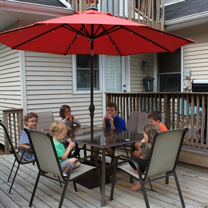 Lighted Umbrella For Patio Impressive Abba Patio 60' Lighted Umbrella Reviews Wayfair