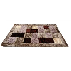 Checkered Squares Mosaic Brown Area Rug