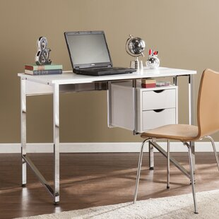 Charmant Carstarphen Writing Desk   White/Chrome