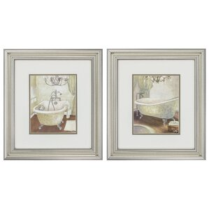 'Guest Bathroom' 2 Piece Framed Painting Print Set. '