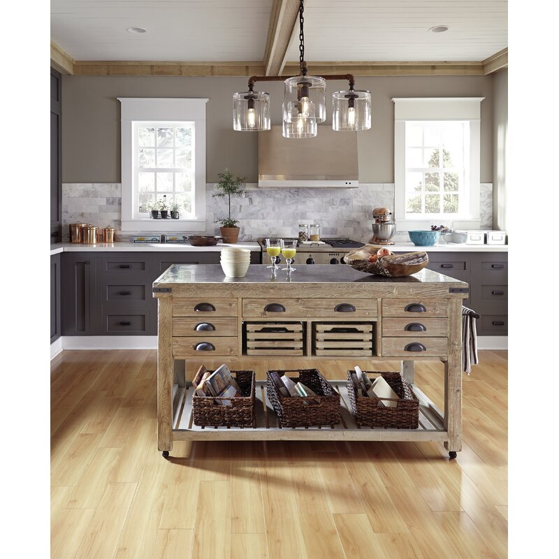 Kosas Home Linley Kitchen Island with Bluestone Top & Reviews | Wayfair