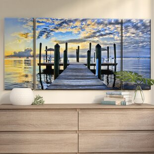 3 piece canvas art vertical pier burst piece photographic print on wrapped canvas in blueyellowgraybrown wall art youll love wayfair