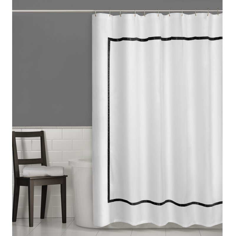 black and white bathroom window curtains maytex hotel border shower curtain amp reviews wayfair 25124