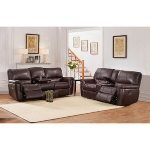 Deverell 2 Piece Brown Leather Reclining Living Room Set by World Menagerie