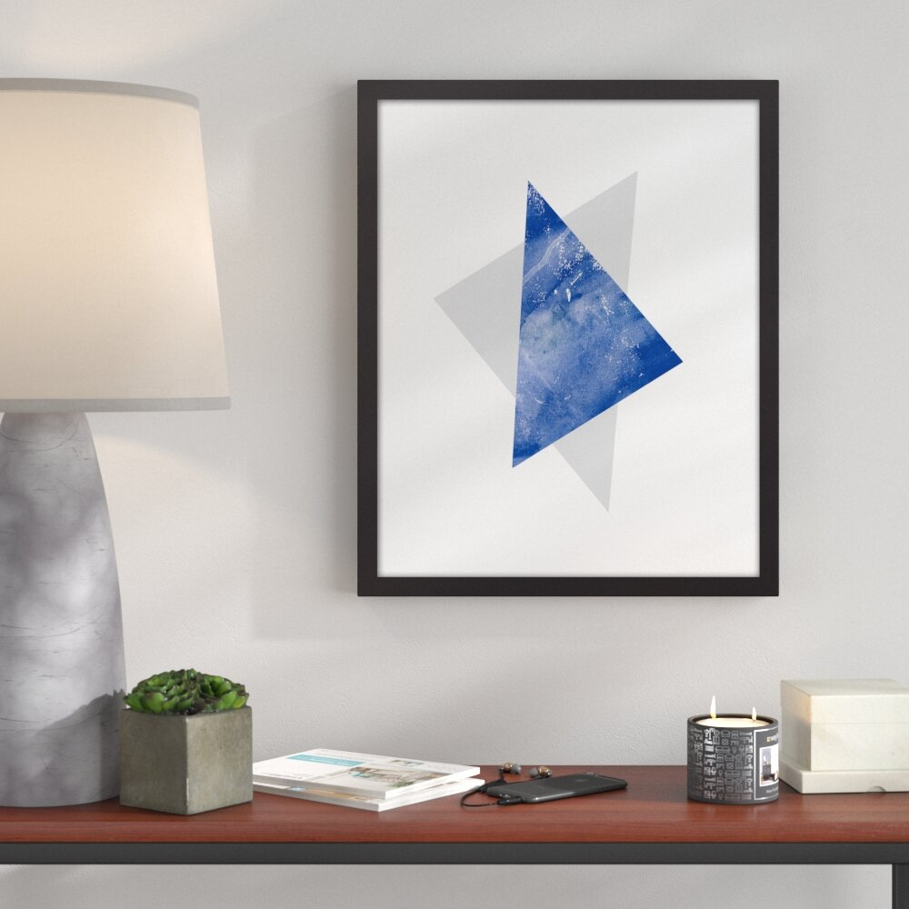 Bronx Blue Bedroom Project: Ivy Bronx 'Blue And Gray Triangles' Framed Graphic Art