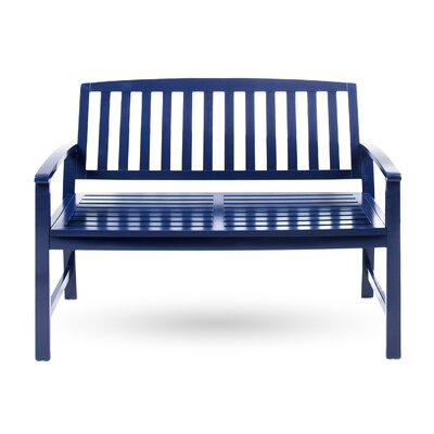 Beachcrest Home Leora Acacia Wood Garden Bench Color: Navy Blue