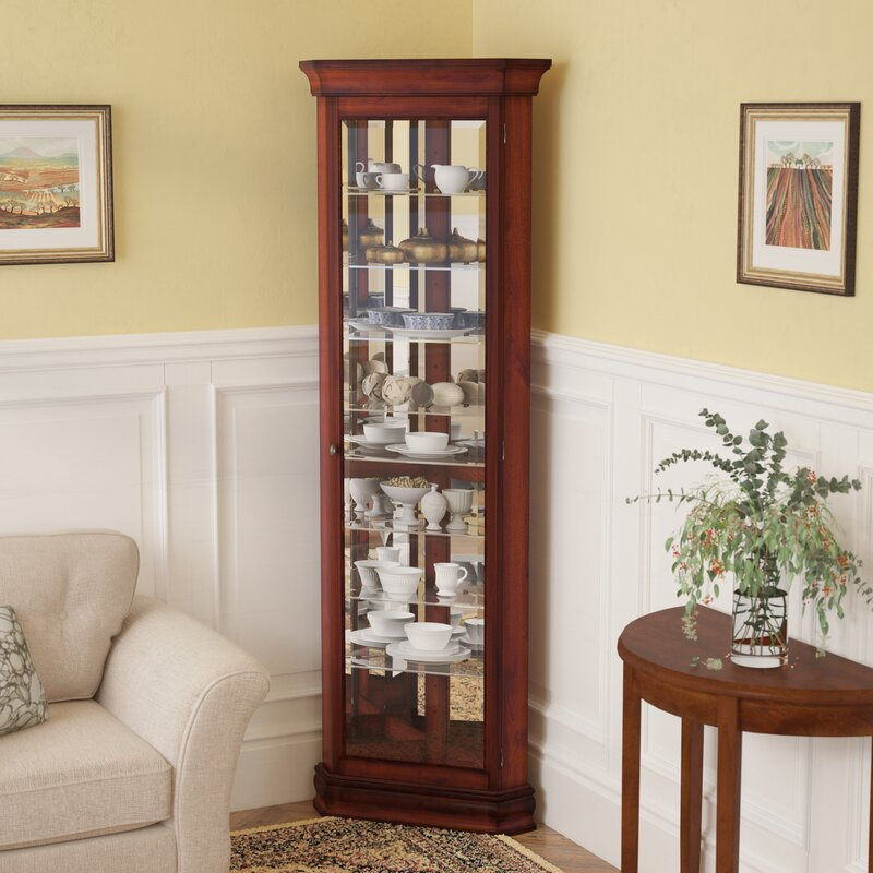 Hollingdon Lighted Corner Curio Cabinet