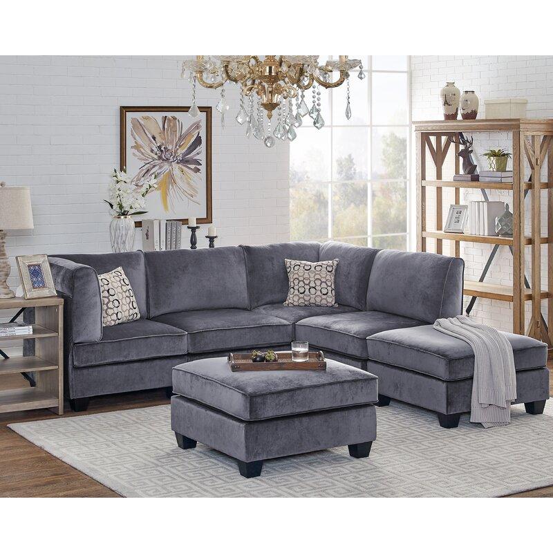 Ivy Bronx Marylou Modular Velvet Sofa Set | Wayfair
