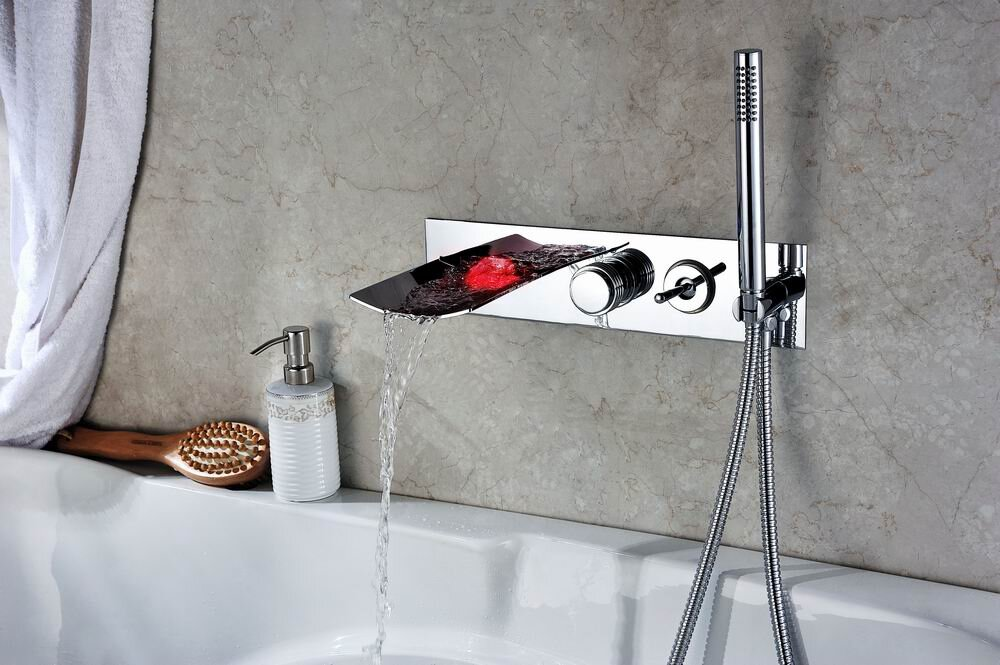Bathroom Faucet In Wall sumerain double handle wall mount led waterfall tub faucet with