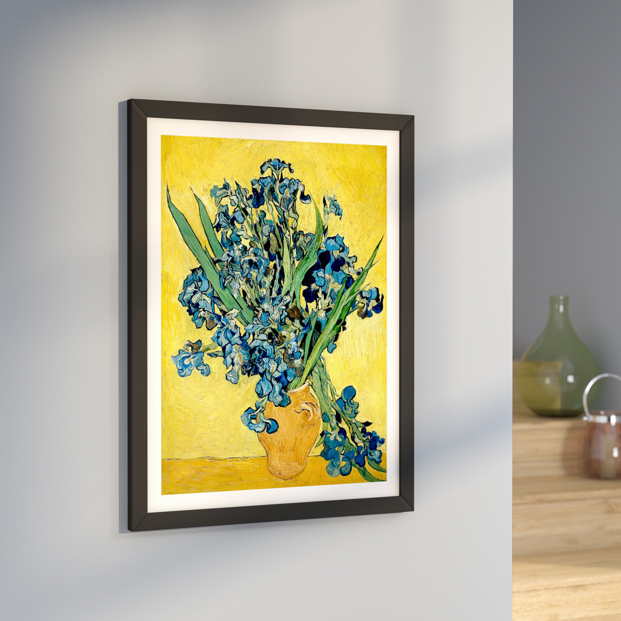 East urban home vase with irises against a yellow background by east urban home vase with irises against a yellow background by vincent van gogh graphic art print reviews wayfair reviewsmspy