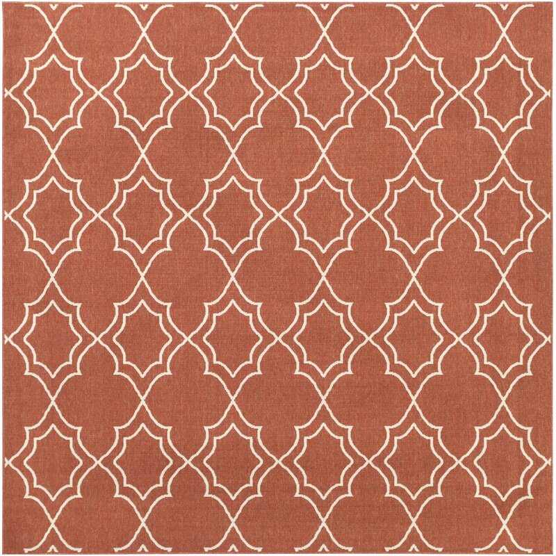 Alcott Hill Amato Power Loomed Rust/Cream Indoor/Outdoor Area Rug, Size: Square 89