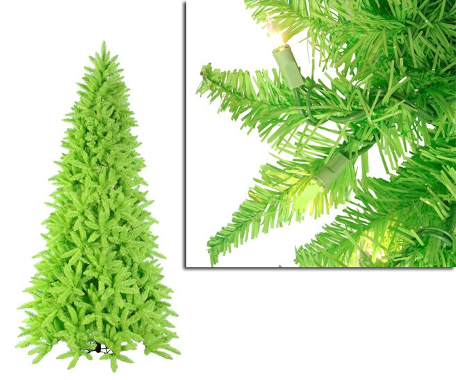 10 lime green ashley spruce christmas tree with clear and green lights - Lime Green Christmas Tree
