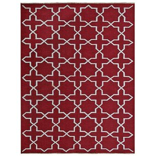 Find a Ry Sumak Geometric Hand-Knotted Red/White Area Rug By Latitude Run
