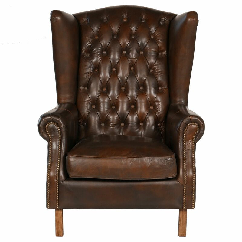 Old World Antique Leather Wingback Chair - Joseph Allen Old World Antique Leather Wingback Chair & Reviews