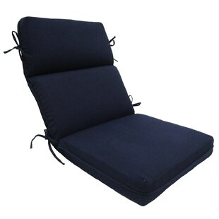 Solid High Back Outdoor Lounge Chair Cushion