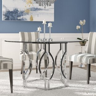 Glass kitchen dining tables youll love wayfair affric glass dining table watchthetrailerfo
