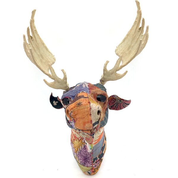 Moose Wall Decor kmpg vintage sari fabric moose head wall décor & reviews | wayfair