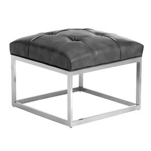 Club Sutton Small Leather Ottoman by Sunpan Modern
