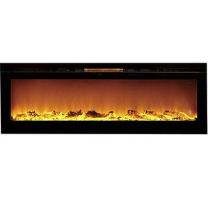 Barajas Black Wall Mount Electric Fireplace ..