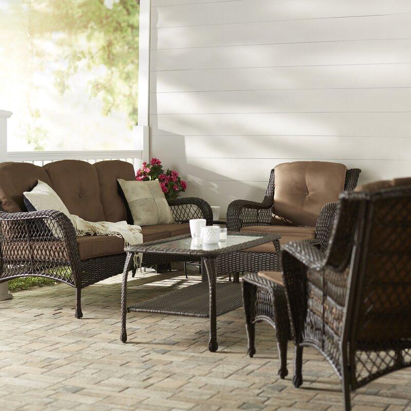 Herrin 6 Piece Rattan Sofa Set With Cushions