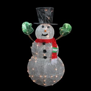 3-D Lighted Glittering Mesh Winter Snowman Christmas Yard Art Decoration
