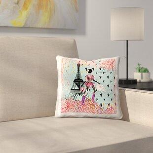 High Quality Fashion Girl In Paris Shopping At The Eiffel Tower Throw Pillow Design