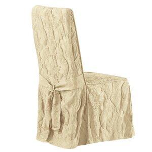 Matelasse Damask Long Chair Slipcover