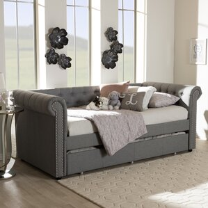 Baxton Studio Mabelle Modern and Contemporary Fabric Daybed with Trundle by Wholesale Interiors Image