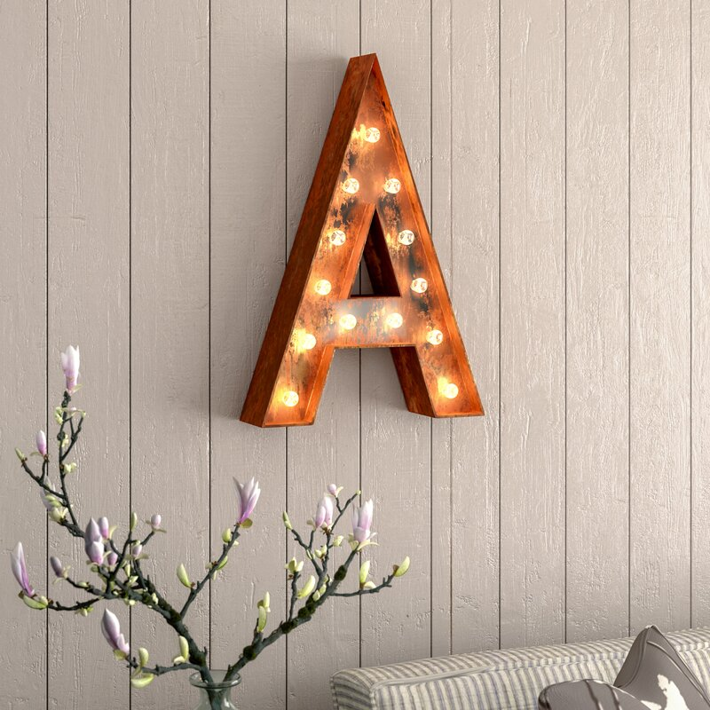 alphabet letter steel marquee sign wall dcor