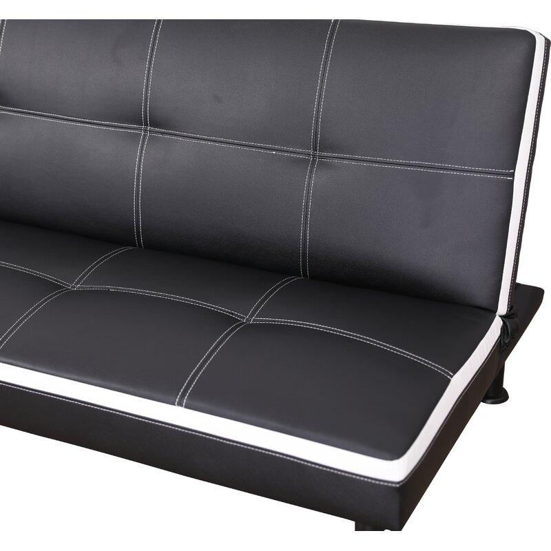 Ebern Designs Goldie Faux Leather Convertible Sofa | Wayfair
