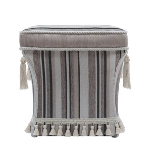 Astoria Grand Grace Traditional Pedestal Striped Ottoman