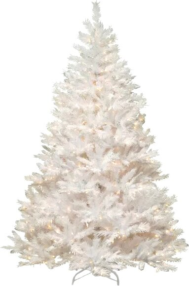 winchester pine 7 white artificial christmas tree with 450 clear lights and stand - White Fake Christmas Trees